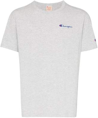 Champion grey reverse weave logo embroidered cotton blend t shirt