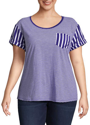 A.N.A Short Sleeve Scoop Neck Striped T-Shirt - Plus