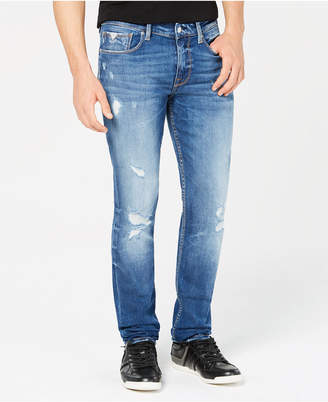 GUESS Men's Slim-Fit Tapered-Leg Destructed Jeans