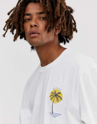 Brooklyn Supply Co. Brooklyn Supply Co extreme relaxed t-shirt with palm print in white