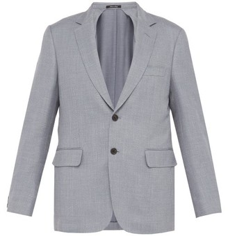 Dunhill Single Breasted Wool Blend Blazer - Mens - Blue