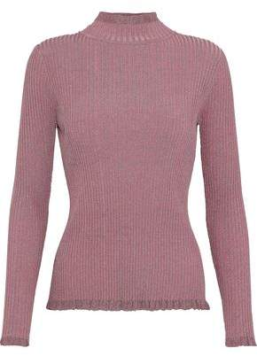 Milly Ruffle-Trimmed Metallic Ribbed-Knit Turtleneck Top