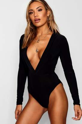boohoo Slinky Hooded Bodysuit