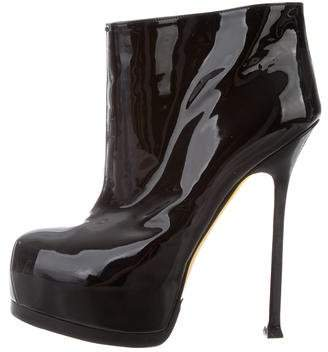 Saint Laurent Patent Leather Round-Toe Boots