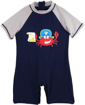 Sweet & Soft Little Boys' Pirate Crabby Animal Print 1-Piece Swim Rashguard, Navy / Grey