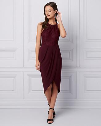 Le Château Lace & Knit High-Low Cocktail Dress
