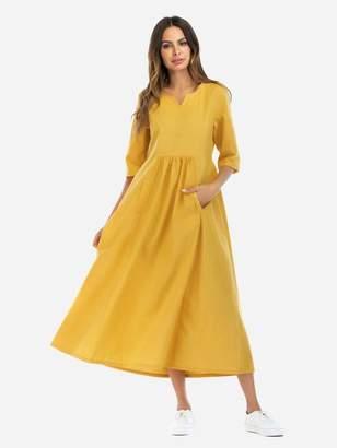 Shein V Cut Detail Smock Midi Dress