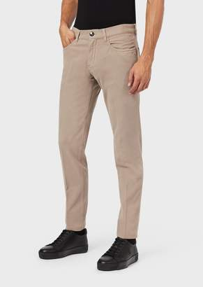 Giorgio Armani Slim-Fit, Tapered Jeans In Comfortable Tricotine