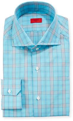 778d5c24e38446 Isaia Men s Aqua Plaid Dress Shirt