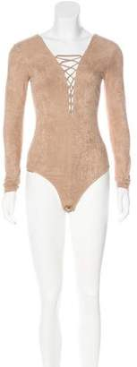 Alexander Wang Long Sleeve Lace-Up Bodysuit w/ Tags