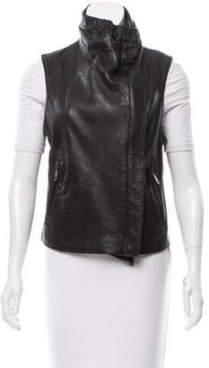Andrew Marc Leather Moto Vest $250 thestylecure.com