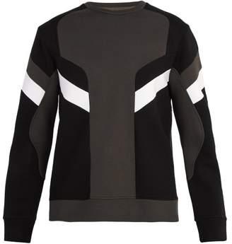 Neil Barrett Panelled Crew Neck Sweatshirt - Mens - Dark Grey