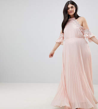 Truly You Plus Pleated Swing Dress With Cold Shoulder Detail