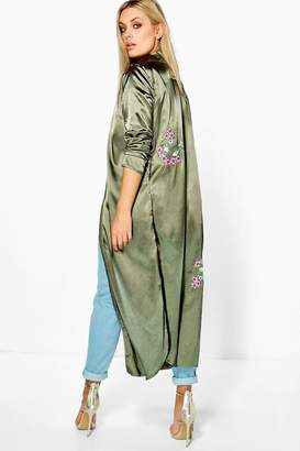 boohoo Plus Emilie Embroidered Satin Duster $52 thestylecure.com
