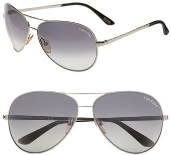 Women's Tom Ford 'Charles' 62Mm Aviator Sunglasses - Palladium