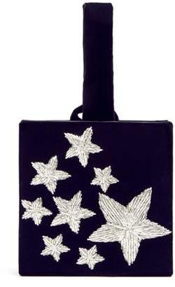 Stelle Sanayi 313 Star Embroidered Velvet Box Clutch - Womens - Blue Silver
