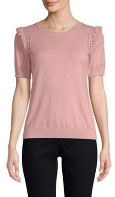 Kate Spade Ruffle Short-Sleeve Sweater