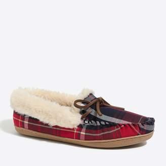 J.Crew Tartan plaid shearling slippers