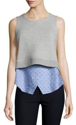 Derek Lam 10 Crosby Knit Sweatshirt Combo Tank, Blue/Gray $395 thestylecure.com