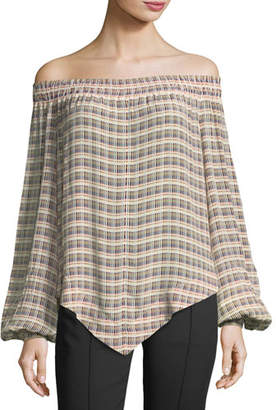 Derek Lam Basketweave-Print Off-the-Shoulder Blouse