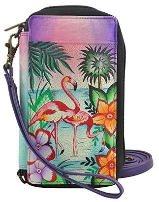 Anuschka Anna by Hand Painted Leather Smartphone Case & Wallet | Tropical Flamingo