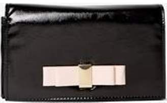 Dorothy Perkins Womens Black Patent Bow Clutch Bag