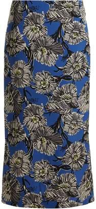 Raey Giant floral-print silk pencil skirt
