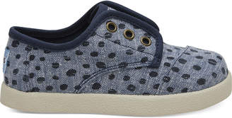 Cornflower Blue Slub Chambray Dots Tiny TOMS Paseo Sneakers