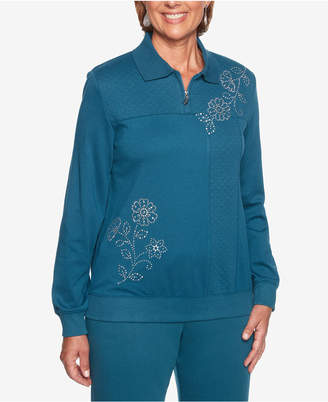 Alfred Dunner Comfortable Situations Embellished Zip Pullover Top