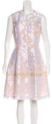Lela Rose Jacquard Sleeveless Dress