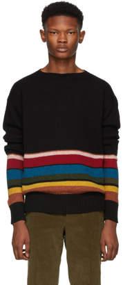 Prada Black Half-Striped Wool Sweater