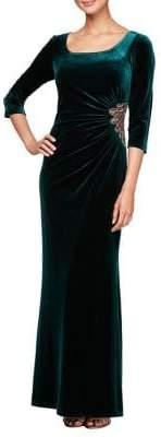 Alex Evenings Beaded A-Line Velvet Gown
