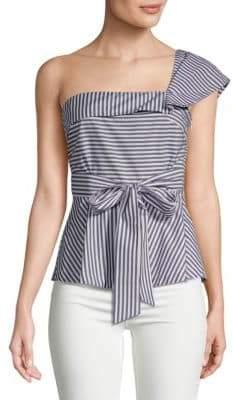 Saks Fifth Avenue One-Shoulder Striped Cotton Blouse