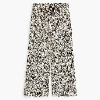 J.Crew Wide-leg cropped pant in leopard-print silk