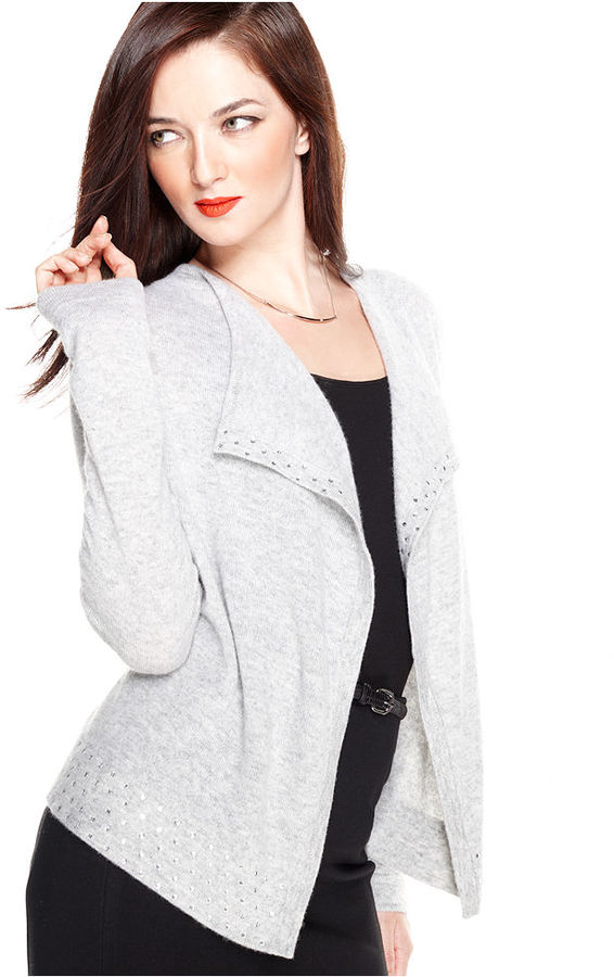Charter Club Sweater, Long-Sleeve Embellished Cashmere Cardigan