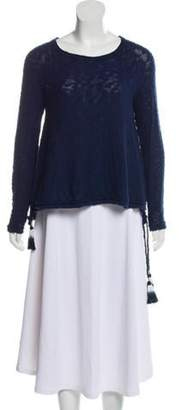 Calypso Knit Drawstring-Accented Sweater Navy Knit Drawstring-Accented Sweater