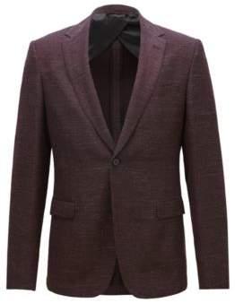 BOSS Hugo Slim-fit jacket in a virgin-wool 38R Dark Red