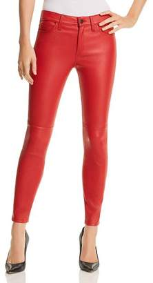 Current/Elliott The Stiletto Leather Skinny Jeans in Haute Red
