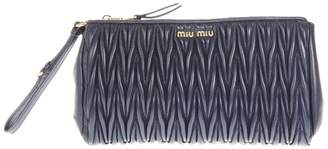 Miu Miu Blue Matelasse' Leather Clutch