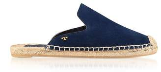 Tory Burch Max Royal Navy Suede Flat Slide Espadrilles