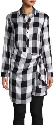 Design Lab Plaid Long-Sleeve Tunic