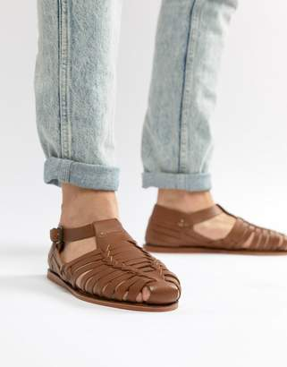 Dune Woven Sandals In Tan Leathe R