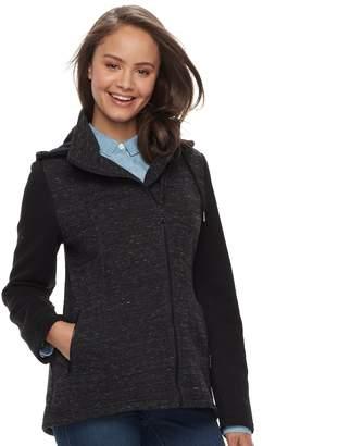 Juniors' Sebby Asymmetrical Marled Fleece Coat