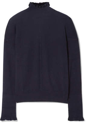 Chloé Ruffled Button-detailed Cashmere Turtleneck Sweater - Midnight blue