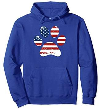 American Flag Dog Paw 4th of July Gift Distressed Hoodie