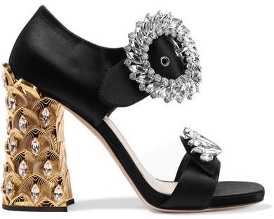 Miu Miu - Crystal-embellished Satin Sandals - Black