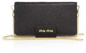 Miu Miu Miu Miu Madras Leather Chain Phone Wallet