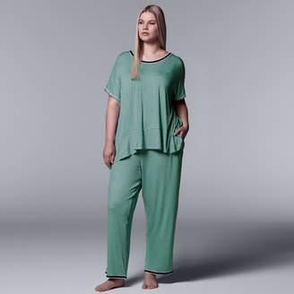 Vera Wang Plus Size Simply Vera Tee & Pants Pajama Set