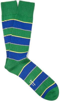 Paul Smith Striped Cotton Blend Socks - Mens - Green