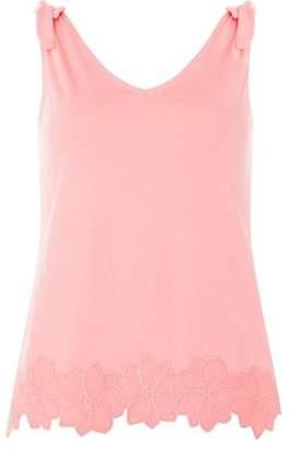 Dorothy Perkins Womens Pink Tie Trim Hem Vest